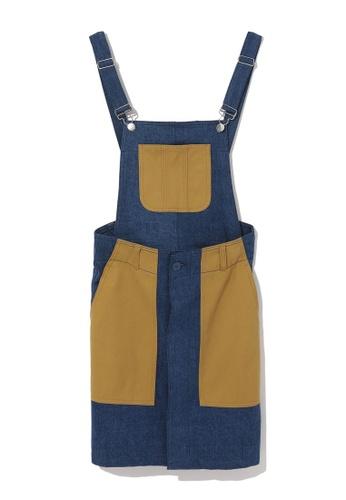 Mini cream navy Colour block overall skirt DA3D2AAF59590AGS_1