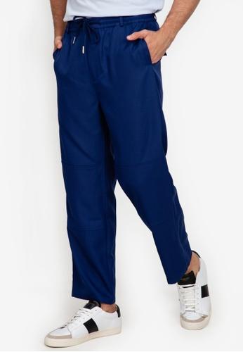 ZALORA BASICS navy Drawstring Trousers 67506AAE3CFF1BGS_1