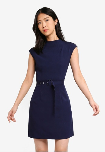 ZALORA BASICS navy Basic High Neck Belted Dress 09410AA0DA5979GS_1