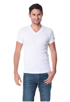 V-Neck Muscle Top White