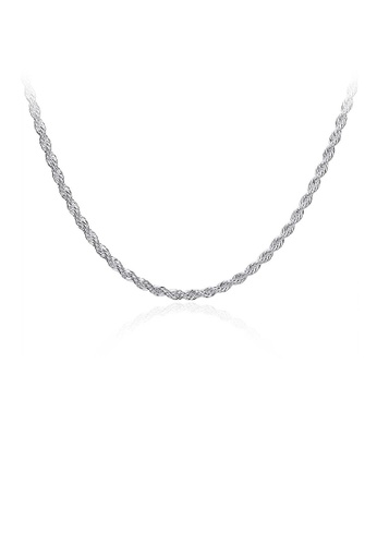 Glamorousky silver Fashion Simple 3MM Twisted Rope Necklace 50cm E9C89ACE389EABGS_1