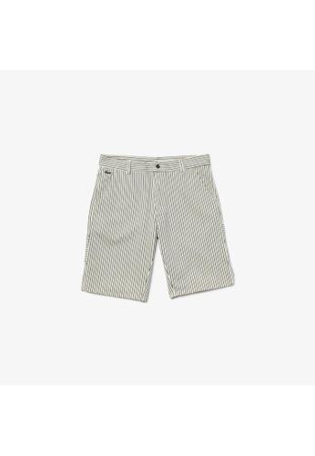 Lacoste white Men's Lacoste LIVE Striped Cotton Fabric Bermuda Shorts 91ED7AA5291B61GS_1