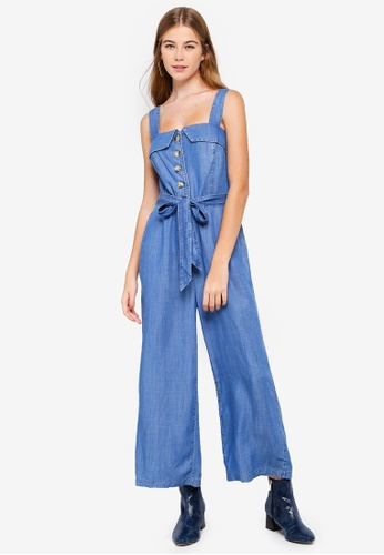 Forever New blue Renee Button Front Denim Jumpsuit 672D8AA76DB7CEGS_1