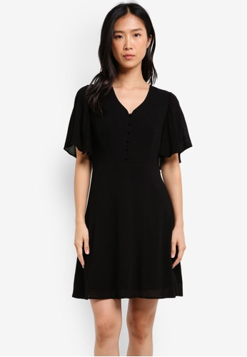 ZALORA black Fit & Flare Dress With Flared Sleeves 5CB36AAF44FFC0GS_1