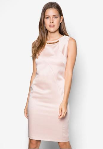 細條zalora鞋紋閃飾連身裙, 服飾, 洋裝