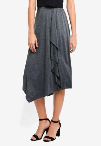 ZALORA grey Asymmetrical Drape Skirt C7797AA031AABCGS_1