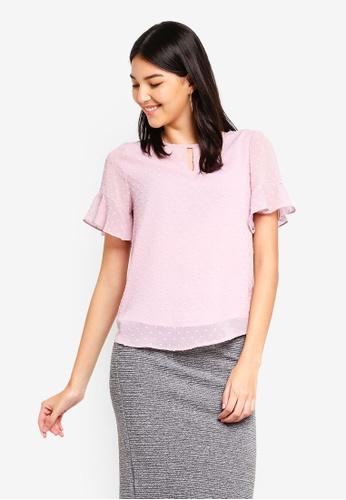 ZALORA pink Ruffle Sleeves Top FAEB5AA01BDABAGS_1