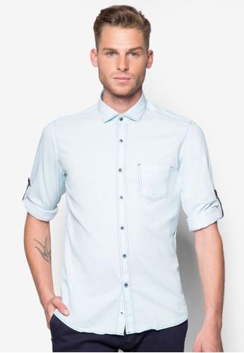 esprit outlet 香港素色合身長袖襯衫, 服飾, 襯衫