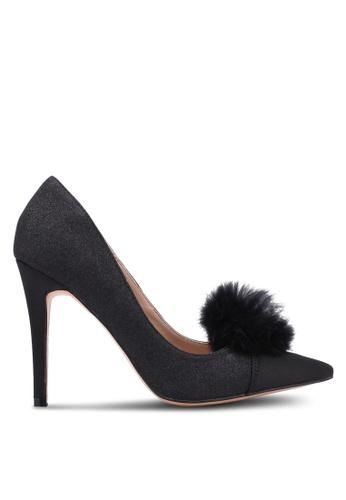 Velvet 黑色 Pom Pom Glitter 高跟鞋 D188ESHB8FBBF6GS_1