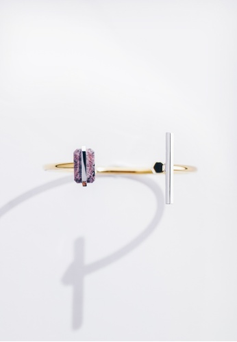 Paradeisos Jewellery red and gold Hidden Glory Rossa Natural Raw Ruby Bangle PA467AC0GHUPSG_1