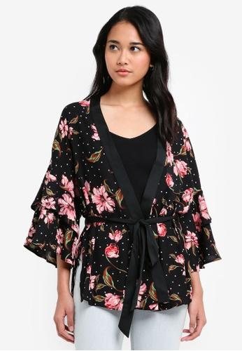 TOPSHOP multi Spotted Floral Print Kimono Cardigan 5FDC8AA860DA13GS_1