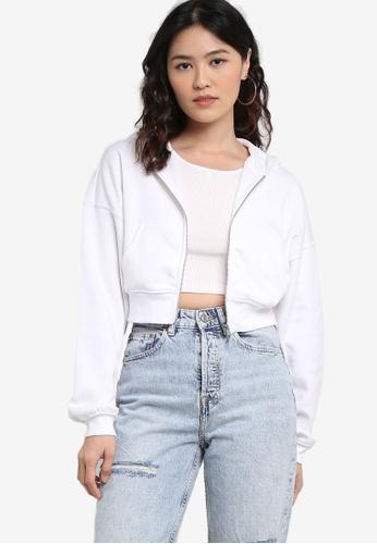 H&M white Cropped Zip-Through Hoodie 48463AA305B751GS_1