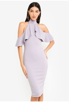 e1df0464fa2b High Neck Frill Cold Shoulder Midi Dress 8C99AAA3C28FA7GS 1