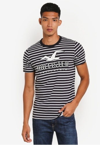 Hollister black Striped Brand T-Shirt 39AB4AA2D9FCB2GS_1