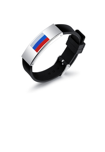 Glamorousky silver Fashion Simple Russian Flag Geometric 316L Stainless Steel Silicone Bracelet 604D1ACEB8524BGS_1
