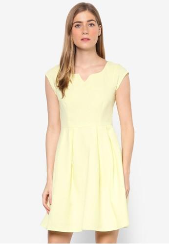 Jewel 起褶蓋袖連身裙, 服飾, esprit 衣服洋裝