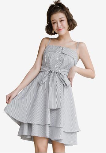 Tokichoi black Striped Tie Cami Dress 7B02AAA41F8A8FGS_1