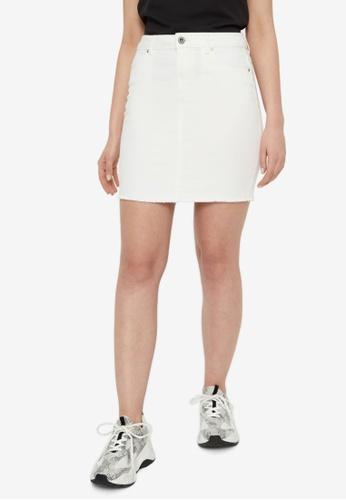 Pieces 白色 Aia High Waist Denim Skirt 7C1D2AA4F19365GS_1