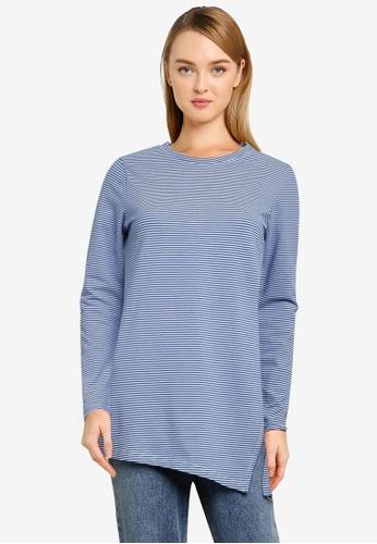 UniqTee blue Long Sleeve Slanted Hem Top 3B404AAA9E9B81GS_1