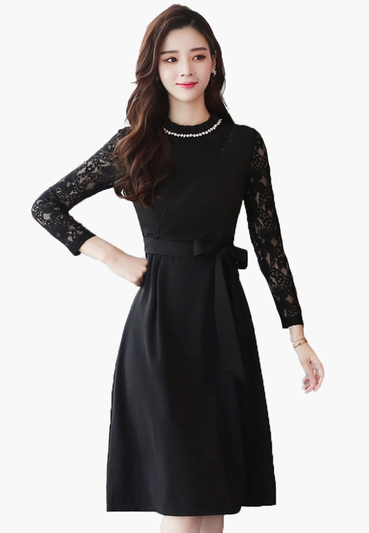 W Slim Lace Halo A Black Dress Sleeves Padaw