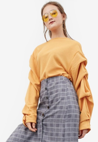 Berrybenka yellow Fayla Detailed Sleeve Top E95A8AAF7A48D7GS_1