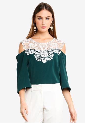 bYSI green Crochet Lace Cold Shoulder Top 88011AA9EC4BA6GS_1