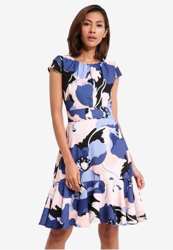 CLOSET blue Cap Sleeve Peplum Tie Dress 0580DAA68EA2B6GS_1