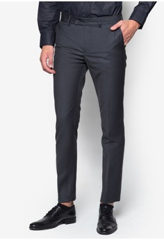 Slim-Fit Formal Trousers with Contrast Band