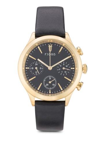 Agna esprit outlet 台灣圓框皮革手錶, 錶類, 飾品配件