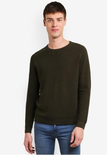 Burton Menswear London green Khaki Brick Stitched Jumper BU964AA0SD2FMY_1