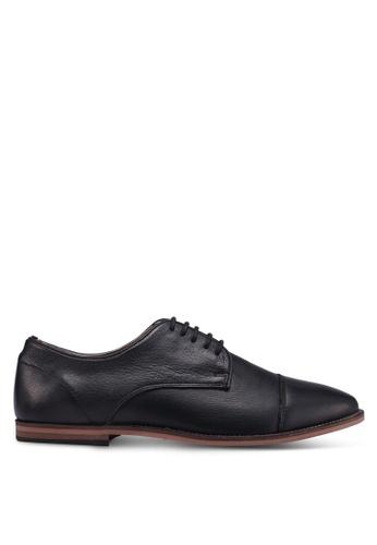 Topman black Black Leather Blinder Toecap Shoes F5BD7SH11F1744GS_1