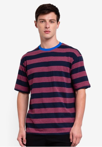 UniqTee red Striped T-shirt With Contrasting Neck 741EFAA9227386GS_1