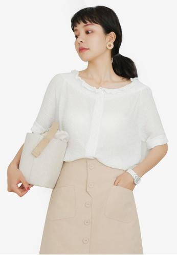 Shopsfashion 白色 Ruffle Collar Blouse B386CAA58EA057GS_1