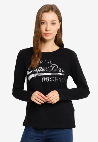 SUPERDRY black Vintage Logo Photo Rose Long Sleeve Top 59E31AA024E199GS_1
