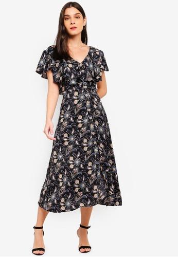 ZALORA black and multi V-Neck Ruffles Midi Dress 4433CAAFFF5ED0GS_1