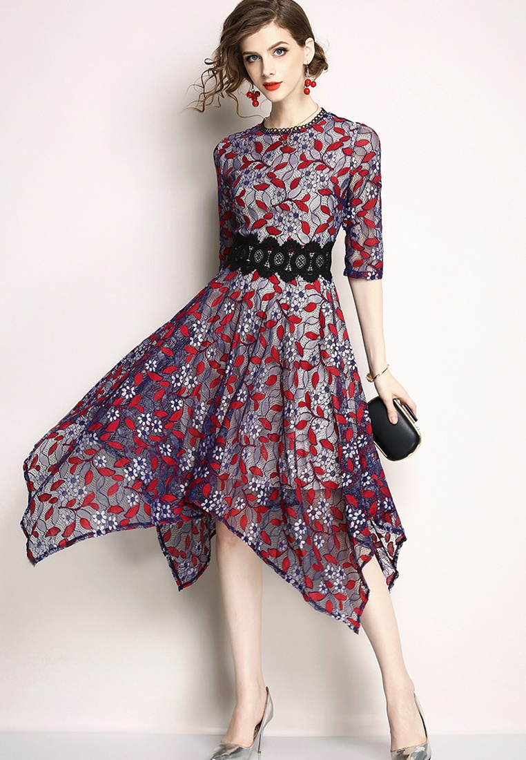 Patterned Flower red Piece Sunnydaysweety Dress One A060814PU 2018 Purple New Purple aqcnTxOt