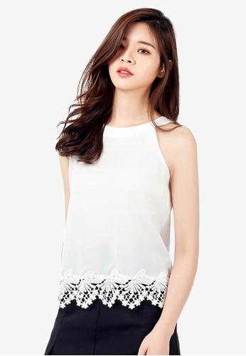 Kodz white Sleeveless Blouse With Lace 255AFAAE6EF4DDGS_1