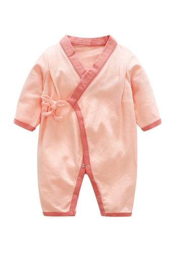 Kiddies Crew pink Yukata Style Open Robe Boys Girls Baby Kids Long Sleeve Romper Onesie Overalls Bodysuit With String/ Ribbon (Pink) 26618KADFE70EDGS_1