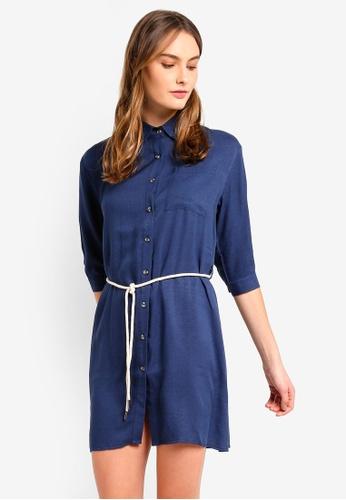 ZALORA BASICS navy Basic Contrast Self Tie Shirt Dress 5887AAAF232629GS_1