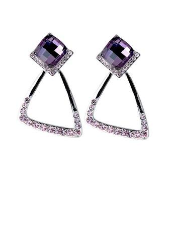Glamorousky purple Elegant Earrings with Purple Crystal Glass and Purple Austrian Element Crystals 7B383AC353A2ADGS_1