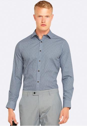 Oxford navy Kenton Printed Shirt OX512AA0HB2RSG_1