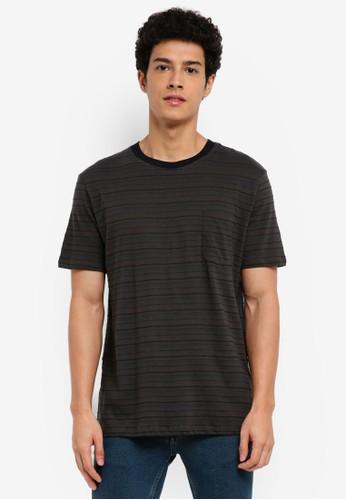 MANGO Man grey Striped Cotton T-Shirt CE8C9AA945552FGS_1