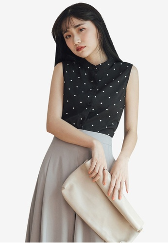 Tokichoi black Button Front Chiffon Polka Dot Top 00074AAA081EFCGS_1
