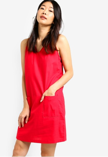 Something Borrowed red Sleeveless Shift Dress 40F6CAAD1BE66BGS_1