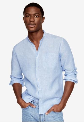 MANGO Man blue Slim-Fit Mao Collar Linen Shirt 7619DAA1979F39GS_1