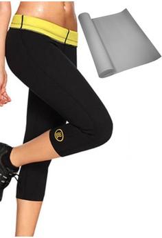 Hot Shapers Women's Pants Shapewear (Black) with FREE Yoga Mat (Gray)