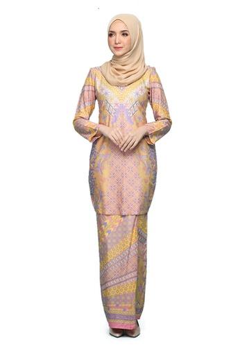 Kurung Ratna from Seri Maharani in yellow and purple and multi_1