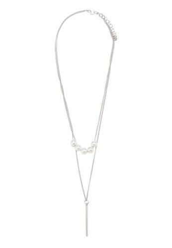 Femmesprit香港門市e 珍珠金屬條層次項鍊, 飾品配件