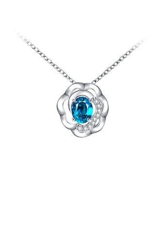 Glamorousky blue Fashion Elegant Flower Pendant with Blue Cubic Zirconia and Necklace 81E3DAC31E3592GS_1