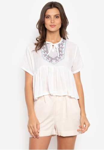 Ashley Collection white Kirsten Embroidered Gathered Waist Top AS637AA0K4HRPH_1